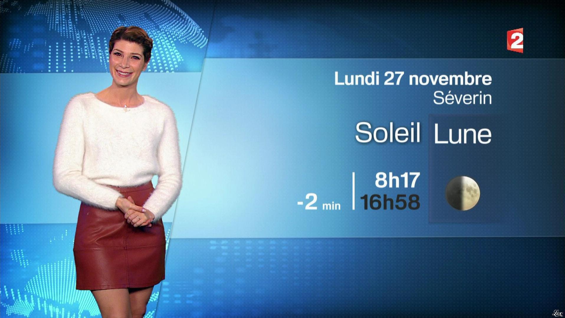 Chloé Nabédian à la Météo du Soir. Diffusé à la télévision le 26/11/17.