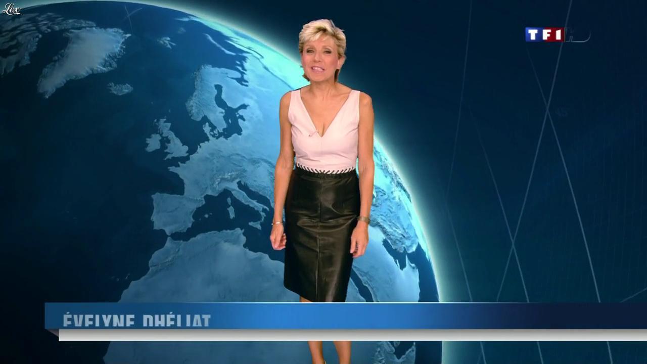 Evelyne Dhéliat à la Météo de 20h. Diffusé à la télévision le 14/10/13.