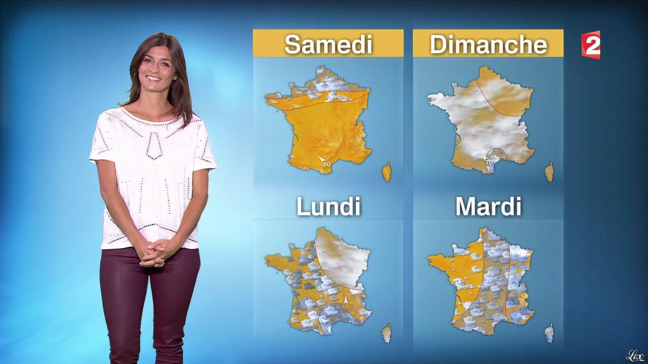Tania Young à la Météo de Midi. Diffusé à la télévision le 25/09/14.