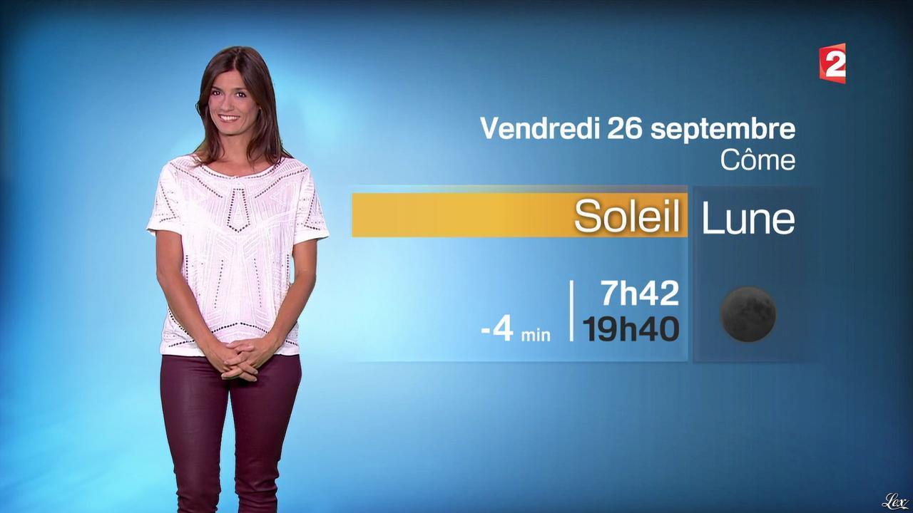 Tania Young à la Météo du Soir. Diffusé à la télévision le 25/09/14.