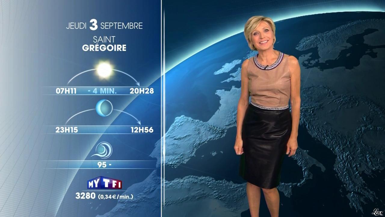 Evelyne Dhéliat à la Météo de 20h. Diffusé à la télévision le 02/09/15.