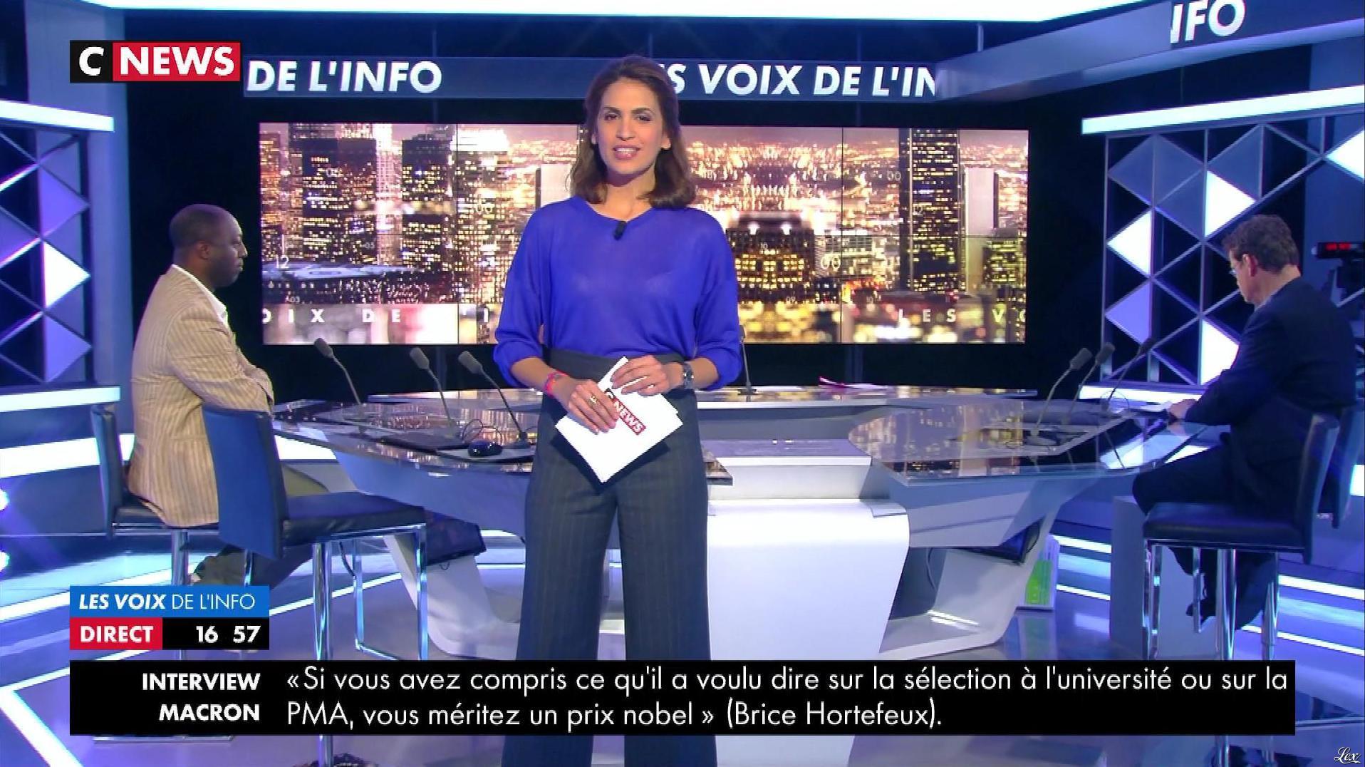 Sonia Mabrouk dans les Voix de l'Info. Diffusé à la télévision le 16/10/17.