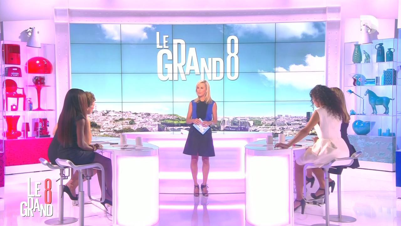 Laurence Ferrari, Hapsatou Sy et Aïda Touihri dans le Grand 8. Diffusé à la télévision le 04/09/15.