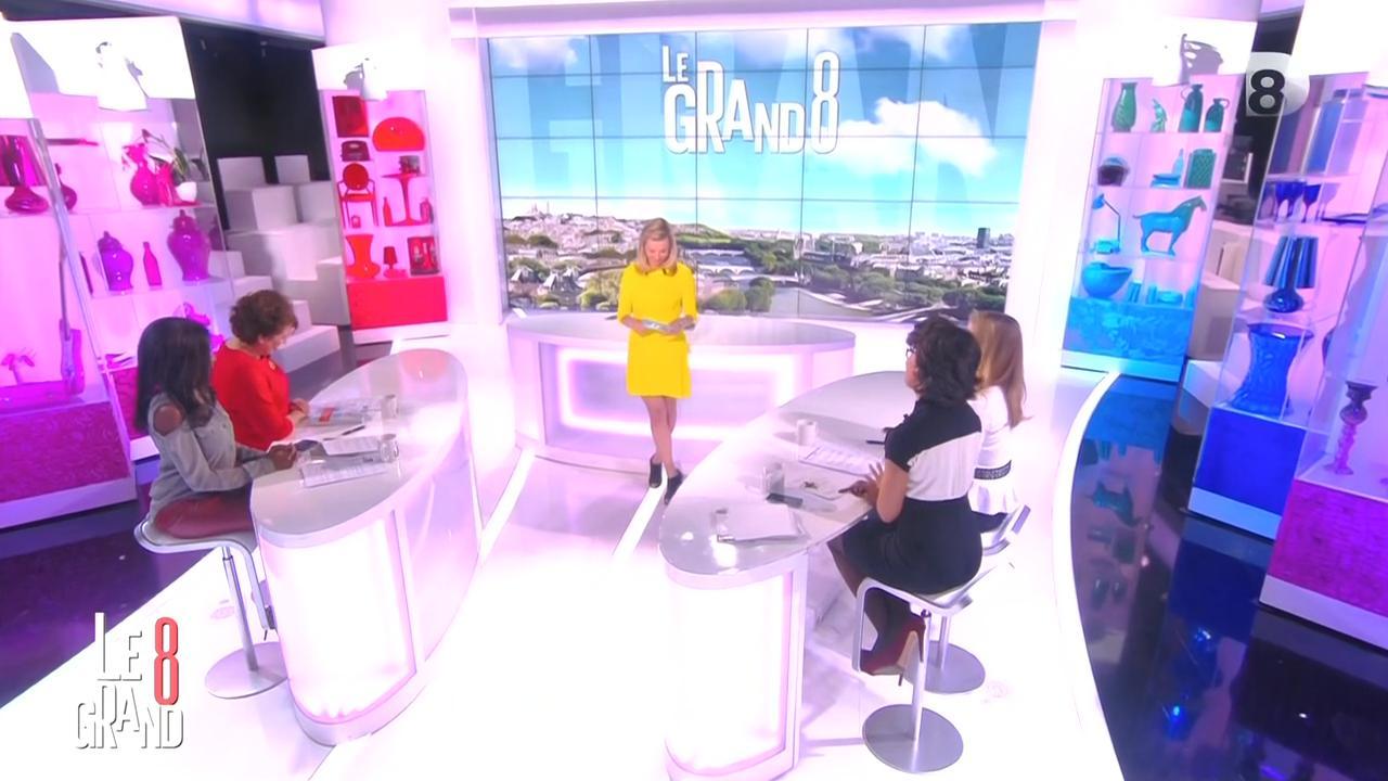 Laurence Ferrari, Hapsatou Sy et Audrey Pulvar dans le Grand 8. Diffusé à la télévision le 13/03/15.