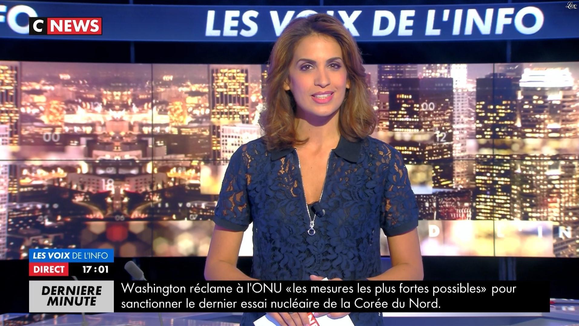 Sonia Mabrouk dans les Voix de l'Info. Diffusé à la télévision le 04/09/17.