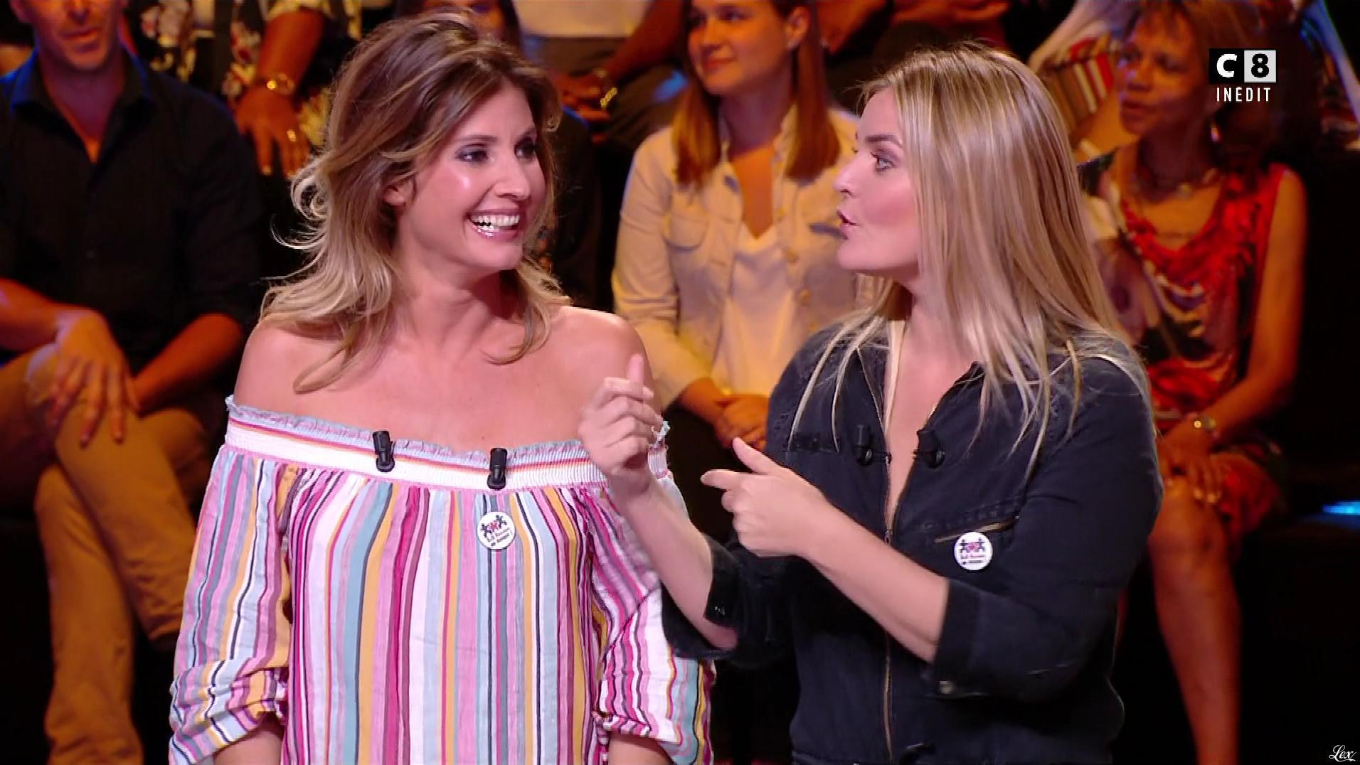 Caroline Ithurbide et Justine Fraioli dans Couple ou pas Couple. Diffusé à la télévision le 06/08/18.