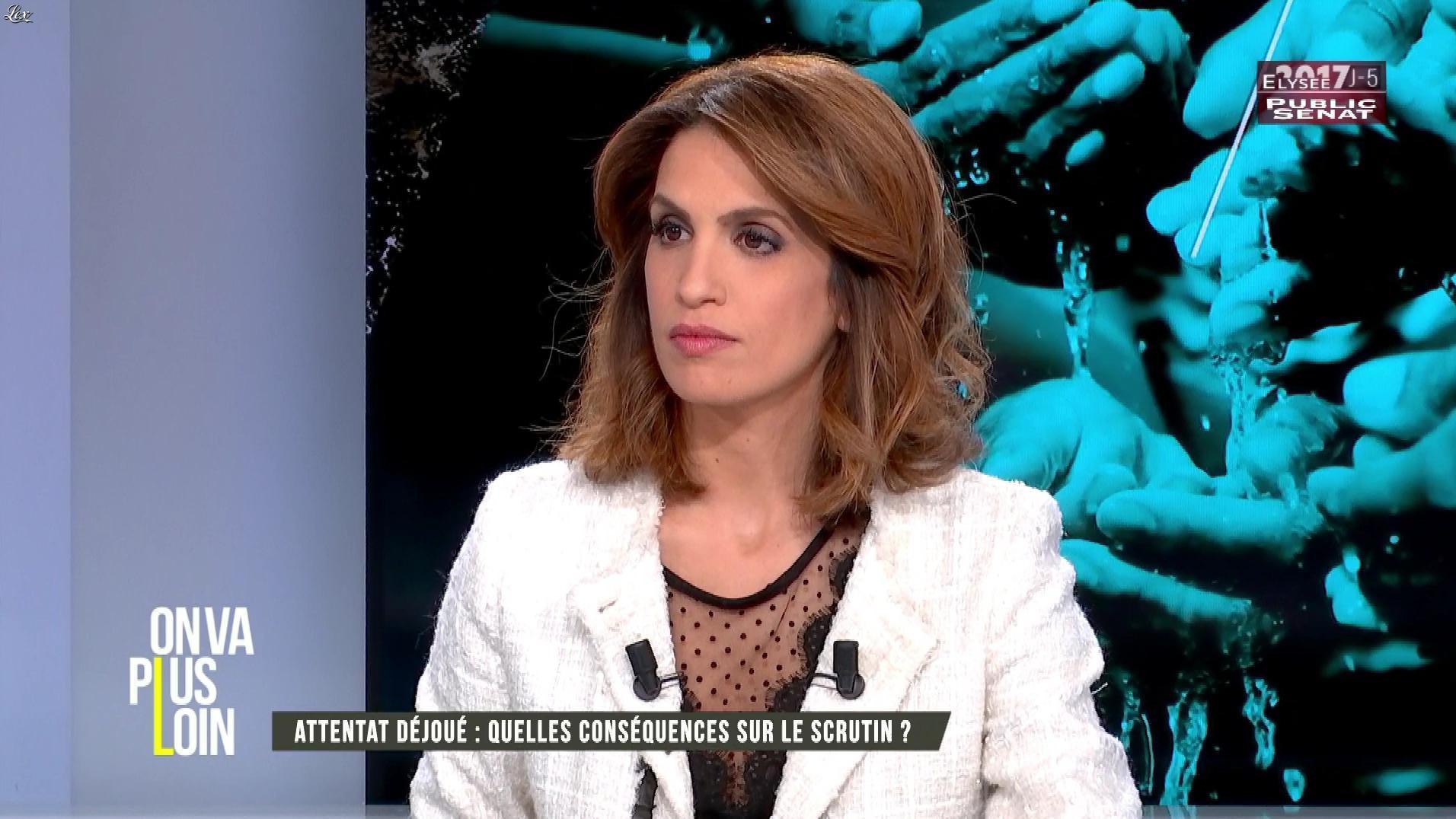 Sonia Mabrouk dans On Va Plus Loin. Diffusé à la télévision le 18/04/17.