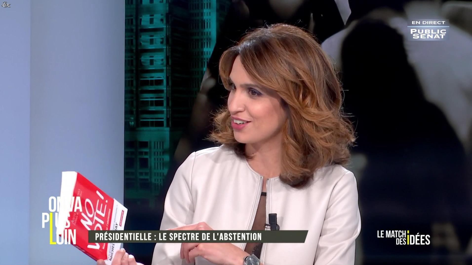 Sonia Mabrouk dans On Va Plus Loin. Diffusé à la télévision le 21/03/17.